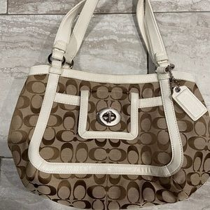 Coach Logo Signature Tan/White Shoulder Bag